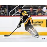 """John Marino Pittsburgh Penguins Unsigned Black Jersey Skating Photograph"""
