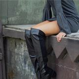 Urban Outfitters Shoes | Black Chunky Heel Pointy Toe Over The Knee Boots | Color: Black | Size: Various