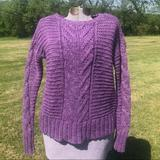 American Eagle Outfitters Sweaters   American Eagle Purple Mixed-Cable Sweater   Color: Purple   Size: S
