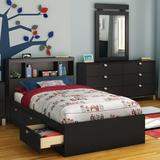 South Shore Spark Twin Mate's & Captain's Bed w/ Drawers Wood in Black, Size 40.5 W x 76.5 D in | Wayfair 10049
