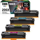 Cool Toner Compatible Toner Cartridge Replacement for HP 206X W2111X W2112X W2113X 206A for HP Color Laserjet Pro MFP M283FDW M255DW M283CDW Ink Toner Cartridges (Black Cyan Yellow Magenta, 4 Pack)