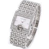 Luxury Ladies Alphabet G Diamond Bracelet Watch Square Steel Band Fashion Silver/Gold Fashion Quartz Analog Band Bracelet Wrist Watch Bracelet Watches (Silver)