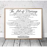 daoyiqi Wood Pallet Plaque with Frame The Art of Marriage, Marriage Gifts, Marriage Quotes, Wedding Gift, Bedroom Wall Decor, Housewarming Gift, Gift for Bride Quote Sign
