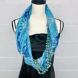 Anthropologie Accessories | Anthro Infinity Beaded Paisley Scarf | Color: Blue/White | Size: Os