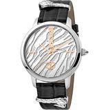 Just Cavalli Fashion XL Ladies 3 Hands Quartz Watch - Black Leather Band, Metallic SS case and Silver dial - JC1L127L0015