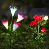 Neporal Garden-Solar-Lights-Outdoor 3 Pack Solar Stake Lights with Rose& Lily Flower Multi-Color Changing Garden Lights Solar Powered Waterproof Solar Lights Outdoor Decorative Fiber Optic Decorative