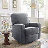 Classic Brands Shiloh Upholstered Manual Reclining Glider Chair, Grey