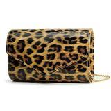 Leopard Evening Handbag Women Envelope Clutch Patent Leather Glossy Purse with Shoulder Chain Strap (Brown Leopard)