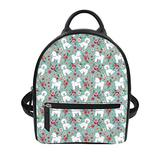 Coloranimal Bichon Frise Flower Backpack for Women Girls Ladies PU Leather Shoulder Rucksack Kids Teens Mini School Book Bag Female Handbag Wallet Bagpack Daypack