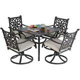 Sophia & William Patio 5 Pieces Dining Set with 4 Swivel Dining Chairs and 1 Square Dining Table, Outdoor Antique Bronze Cast Aluminum Chairs and Metal Steel Slat Dining Table with Umbrella Hole
