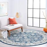 Tillie Dark Blue 6 Foot Round Area Rug for Living, Bedroom, or Dining Room - Traditional, Floral