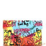 Retro Vintage Multicolor Colorful Graffiti Vegan Leather Tote Purse Handbag (Envelope Clutch - Multi)