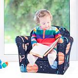 Kinbor Baby Upholstered Chair Kids Sofa Children Armrest Chair Toddler Furniture with Sturdy Wood Construction for Boys & Girls
