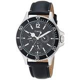 Timex Men's Harborside Multifunction 43mm Watch – Black Dial & Silver-Tone Case with Black Genuine Leather Strap