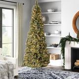 Greyleigh™ Glittery Bristle 7.5' Green Pine Artificial Christmas Tree w/ 500 Clear/White Lights in Green/White, Size 90.0 H x 44.0 W x 44.0 D in