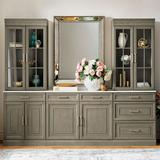 """Hunter Modular Collection in Stone Gray - 28"""" Top Cabinet with Glass Doors - Frontgate"""