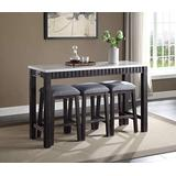 Acme Furniture Necalli Counter Height Set, Marble & Weathered Espresso
