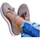 EISHOW Summer Flat Casual Sandals for Women Closed Toe Cut-Out Comfy Platform Beach Loafers Tassels Pumps Shoes (Gray,US 8 M)
