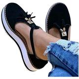EISHOW Summer Flat Casual Sandals for Women Closed Toe Cut-Out Comfy Platform Beach Loafers Tassels Pumps Shoes (Black,US 9 M)