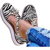 EISHOW Summer Flat Casual Sandals for Women Closed Toe Cut-Out Comfy Platform Beach Loafers Tassels Pumps Shoes (Zebra Print,US 10.5 M)