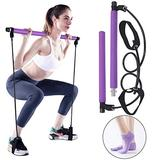Portable Pilates Bar Kit, Yoga Pilates Stick with Resistance Band, Home Gym Pilates Yoga Exercise Bar with Foot Loop for Total Body Workout, with Yoga Socks(Purple)