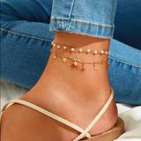 Urban Outfitters Jewelry | 3$30 Faux Pearl And Stars Anklet | Color: Gold | Size: Os