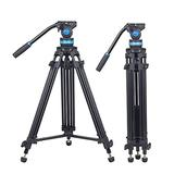 """SIRUI Video Tripod AM-15S, Heavy Duty Tripod with Fluid Head for Cameras, Mid-Level Spreader, Quick Release Plate, 360°Panning Base, Bubble Level,1/4"""" and 3/8"""" Screws, Safety Locks, Friction Control"""
