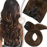 Moresoo 18 Inch Clip on Extensions Remy Straight Clip in Volumizer Hair Extension Balayage Color #3 Brown Mixed with #8 Light Brown Clip in Hair Straight Clip in Hair Extensions 100g/7pcs