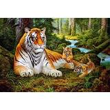 ABEUTY DIY Paint by Numbers for Adults Beginner - Tiger & Tiger Cub Forest 16x20 inches Number Painting Anti Stress Toys (Wooden Framed)