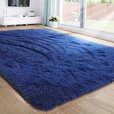 Navy Blue Area Rug for Bedroom,5'X7',Fluffy Shag Rug for Living Room,Furry Carpet for Kids Room,Shaggy Throw Rug for Nursery Room,Fuzzy Plush Rug,Indigo Carpet,Rectangle,Cute Room Decor for Baby