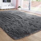 Gray Area Rug for Bedroom,5'X7',Fluffy Shag Rug for Living Room,Furry Carpet for Kids Room,Shaggy Throw Rug for Dorm Room,Fuzzy Plush Rug,Grey Carpet,Rectangle,Cute Room Decor for Baby