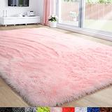 Pink Area Rug for Girls Bedroom,Fluffy Shag Rug 5'X7' for Living Room,Furry Carpet for Kids Room,Shaggy Throw Rug for Nursery Room,Fuzzy Plush Rug for Dorm,Pink Carpet,Rectangle,Cute Room Decor Baby