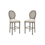 Three Posts™ Duffield Short & Bar Stool Wood/Upholstered in Brown/Gray, Size 50.0 H x 20.0 W x 22.5 D in   Wayfair 5EE8D7DCE9814BF595EBEFB5A62F79E1