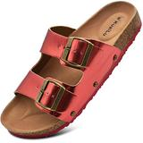 Red Sandals For Women Women's Comfy Cork Footbed Sandals Ladies Bright Color Slides Sandals Suede Leather Two Strap Slip On Shoes