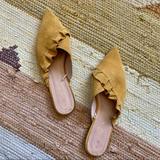 Zara Shoes | *Zara* Genuine Mustard Suede Mules | Color: Yellow | Size: 6.5