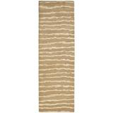 Dakota Fields Aryana Striped Handmade Tufted Beige Area Rug Viscose/Wool/Cotton in Brown/White, Size 96.0 W x 0.5 D in   Wayfair BLMT2298 41781205