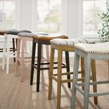 Julien Bar & Counter Stool - Antique White/Marbled Black Bonded Leather, Antique White (Lightly Distressed Edges), Bar Height, Bonded Leather - Grandin Road