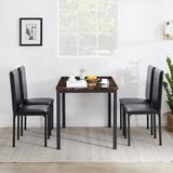 Latitude Run® Albon 5 Piece Dining Set Wood/Metal/Upholstered Chairs in Black/Brown/Green, Size 30.1 H in | Wayfair