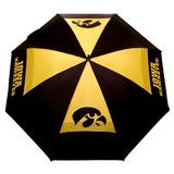 "Team Golf NCAA Iowa Hawkeyes 62"" Golf Umbrella with Protective Sheath, Double Canopy Wind Protection Design, Auto Open Button"