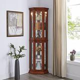 GOOD & GRACIOUS Corner Curio Cabinet with Tempered Glass Door and Light System 6-Tier with Adjustable Glass Shelves Display Cabinet, Walnut