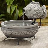 "Marin 13"" High Gray Cement Solar Fish Outdoor Water Fountain"