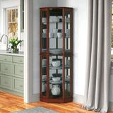 Charlton Home® Maristow Lighted Corner Curio Cabinet Wood in Brown, Size 72.0 H x 26.0 W x 19.63 D in | Wayfair 81F59E246A9A4C989480F25A5626C999