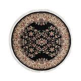 Noori Rug Pak-Persian Kashan Black/Ivory Round Rug, 6'4 x 6'5
