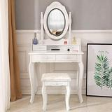 Civigrape Vanity Set with Lighted Mirror, Woman Dressing Table with 4 Drawers, Vanity Makeup Table with Cushioned Stool, Makeup Table and Stool Set for Women Girls Bedroom, White