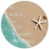 OneHoney Round Area Rugs 5ft, Summer Coastal Beach Sand Starfish Indoor Throw Runner Circle Rug Entryway Doormat Floor Carpet Pad Yoga Mat for Bedroom Living Room The Beach is My Happy Place