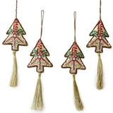 The Holiday Aisle® Hand-Crafted Silvery Christmas Tree Beaded Ornament SetFabric in Brown, Size 3.9 H x 2.78 W x 0.9 D in   Wayfair 262403