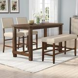 Andover Mills™ Moran 4 Piece Counter Height Dining Set Wood/Upholstered Chairs in Brown/White, Size 36.0 H in | Wayfair