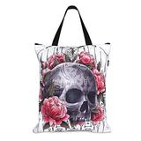 "Liquorbrand Sak Yant Asian Tattoo Skull Tote Bag 17 x 18"" Canvas Shopping Shopper with Zipper"