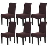 Chair Covers for Dining Room Stretch Dining Chair Covers Chair Cushions for Dining Chairs Super Fit Dining Chair Protector Removable Washable Chair Covers Set of 6, Brown
