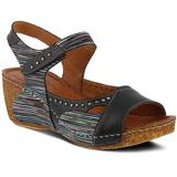 Jaslyn Wedge Sandal - Black - Spring Step Heels